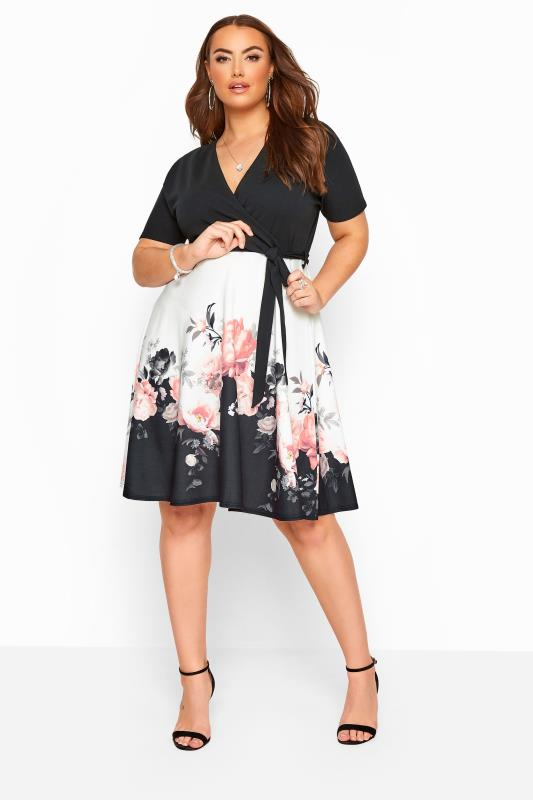Black & White Floral Border Wrap Dress