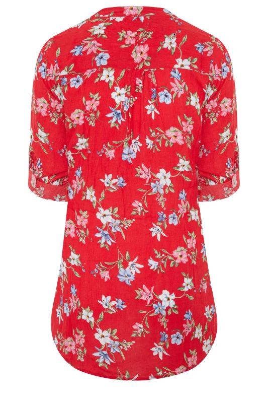 Red Floral Pintuck Belted Tie Shirt_bk.jpg