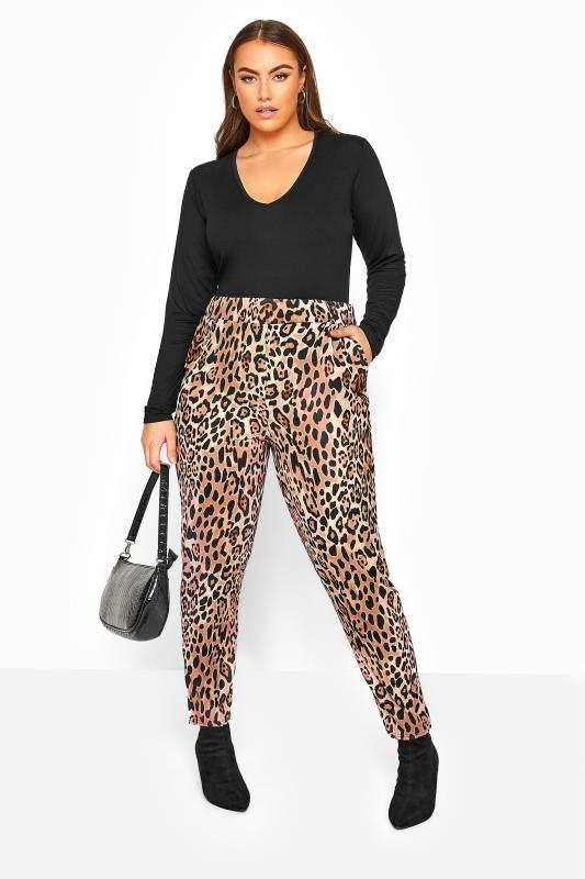 Plus Size Tapered & Slim Fit Trousers Rust Animal Print Bubble Crepe Trousers