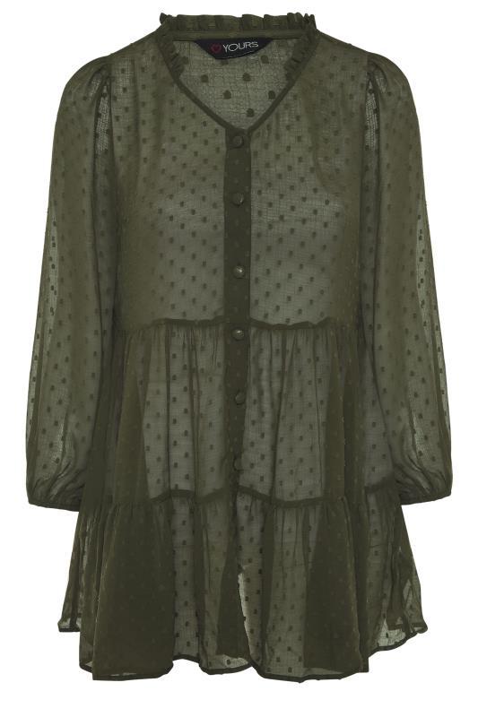 Forest Green Dobby Chiffon Smock Shirt_F.jpg