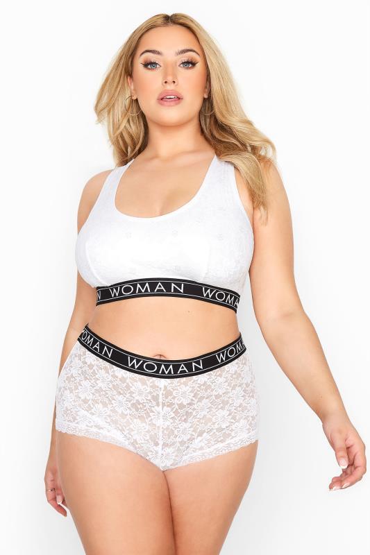 White Lace Lounge Woman Bralette Set