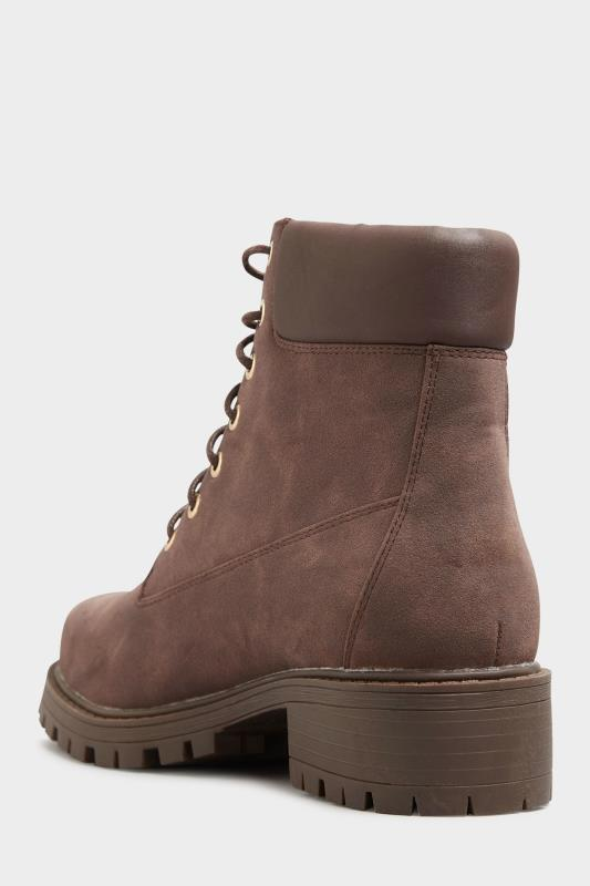 Chocolate Brown Chunky Lace Up Boots In Extra Wide Fit_D.jpg