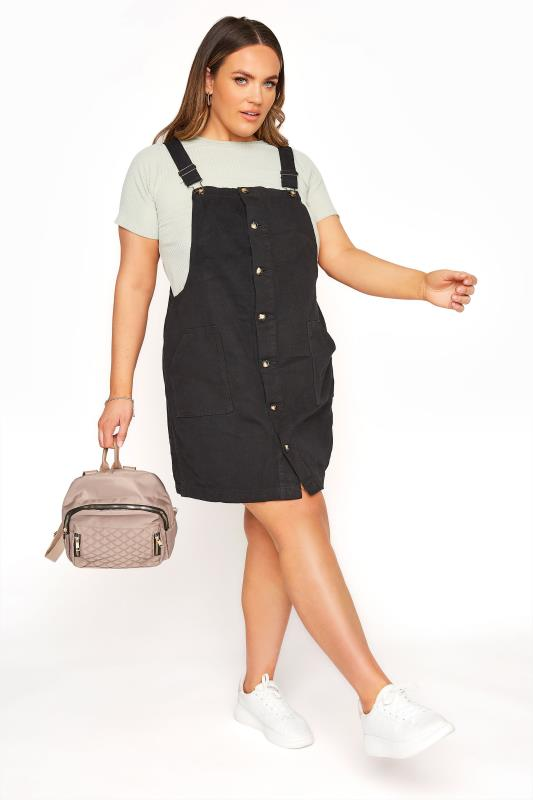 LIMITED COLLECTION Black Button Front Pinafore Dress_A.jpg