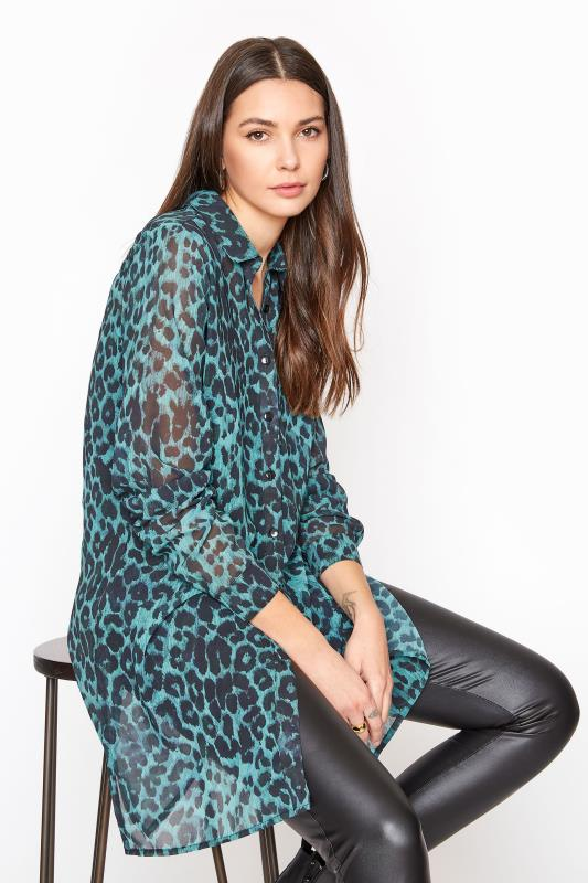 Tall  LTS Teal Blue Leopard Chiffon Shirt