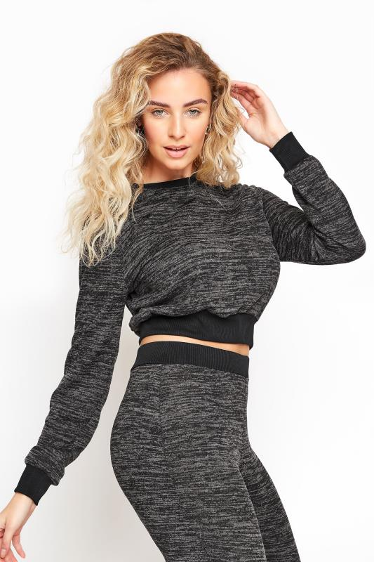 Tall  LTS Grey Marl Cropped Co-ord Top