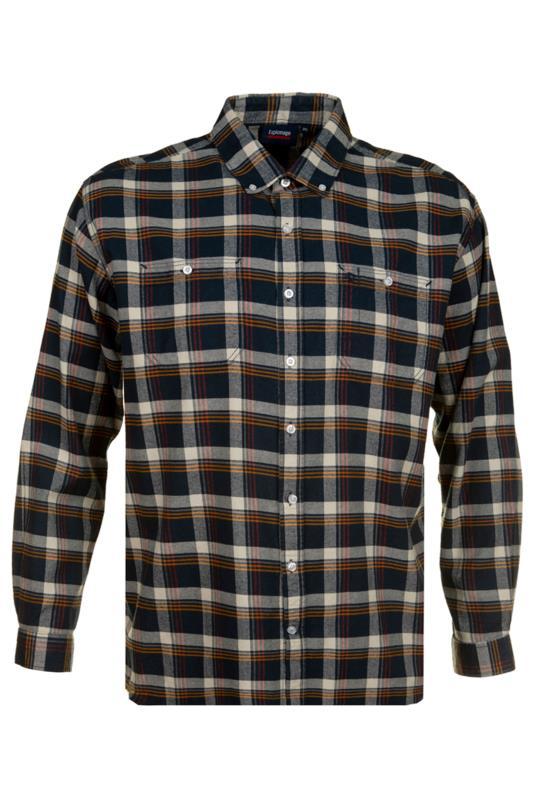 Großen Größen Casual / Every Day ESPIONAGE Navy & Cream Check Brushed Cotton Flannel Shirt
