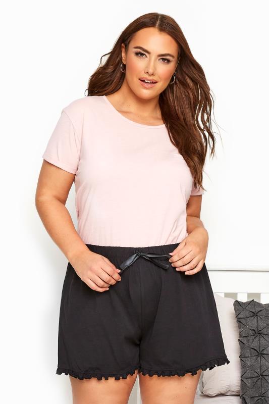 Black Cotton Pyjama Shorts With Frill Trim_055251A.jpg