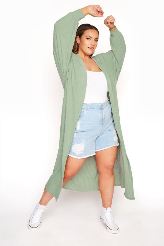 LIMITED COLLECTION Sage Green Long Cardigan_B.jpg
