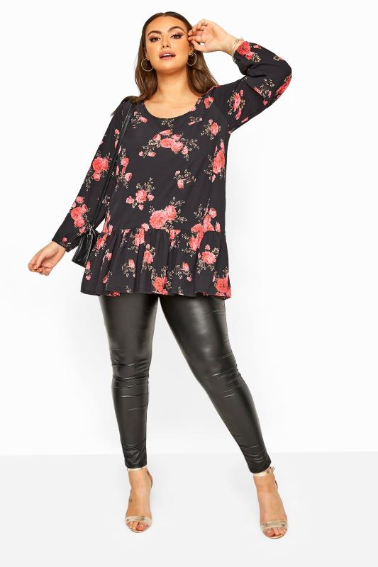 YOURS LONDON Black Rose Floral Peplum Top