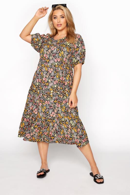 Plus Size  Black Ditsy Puff Sleeve Smock Midi Dress