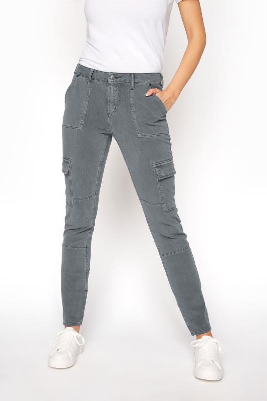 SILVER JEANS Slate Grey Low Rise Skinny Cargo Jeans_B.jpg