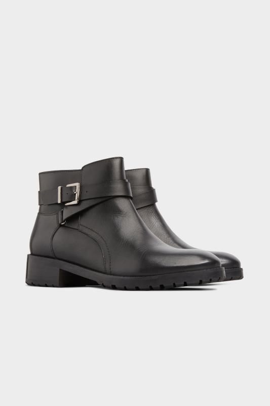 Black Leather Buckle Ankle Boots In Extra Wide Fit_B.jpg
