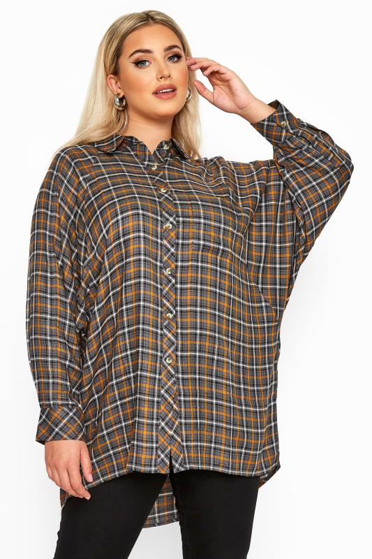 Plus Size Shirts LIMITED COLLECTION Grey & Brown Check Oversized Batwing Sleeve Shirt
