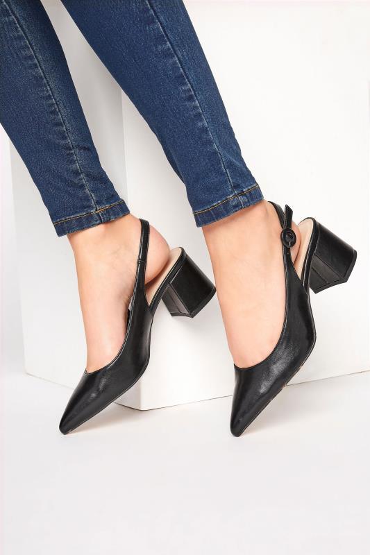 Black Pointed Toe Slingback