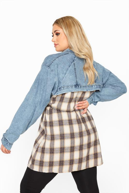 LIMITED COLLECTION Blue Denim Mixed Check Belted Shirt