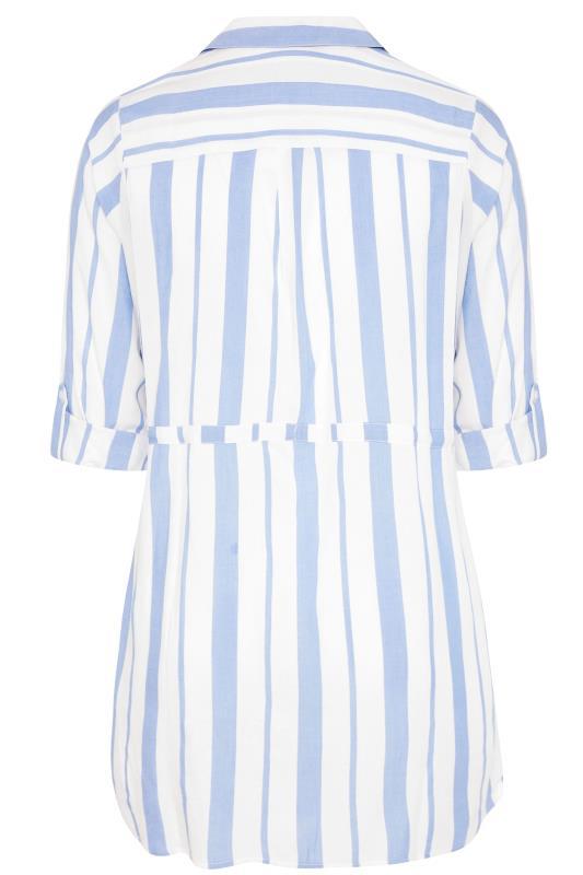 White and Blue Stripe Longline Peplum Shirt_BK.jpg