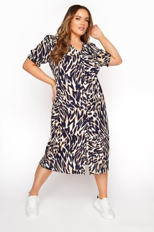 YOURS LONDON Brown Animal Print Tea Dress