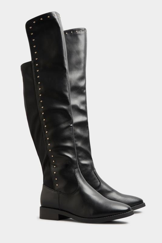LIMITED COLLECTION Black PU Stud Over The Knee Boots In Extra Wide Fit_B.jpg