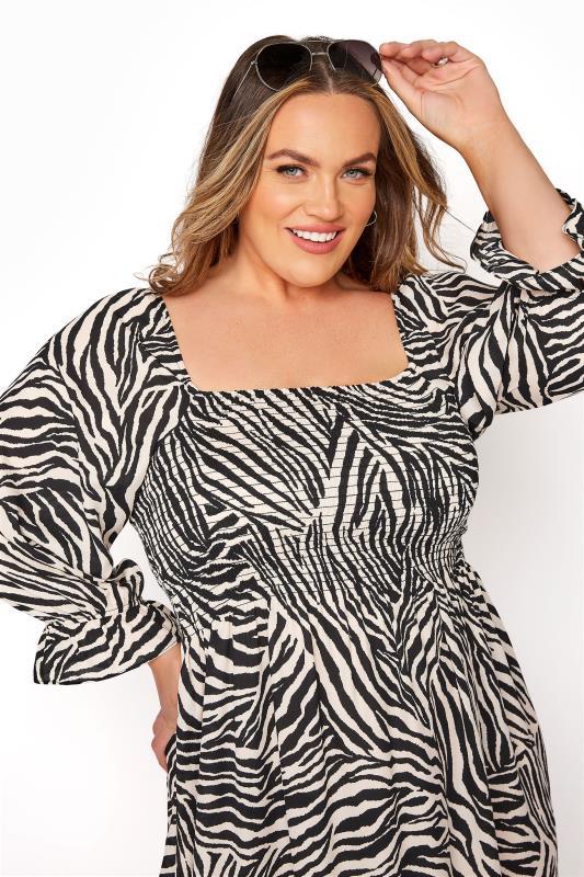 YOURS LONDON Black Zebra Print Shirred Front Midaxi Dress_D.jpg