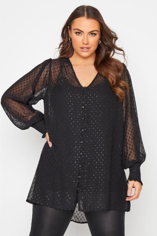 Plus Size  YOURS LONDON Black Dobby Balloon Sleeve Shirt