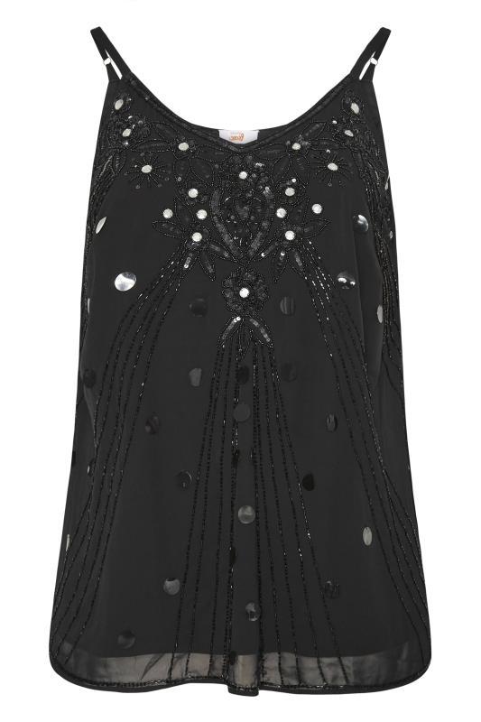 Großen Größen  LUXE Black Hand Embellished Cami Top
