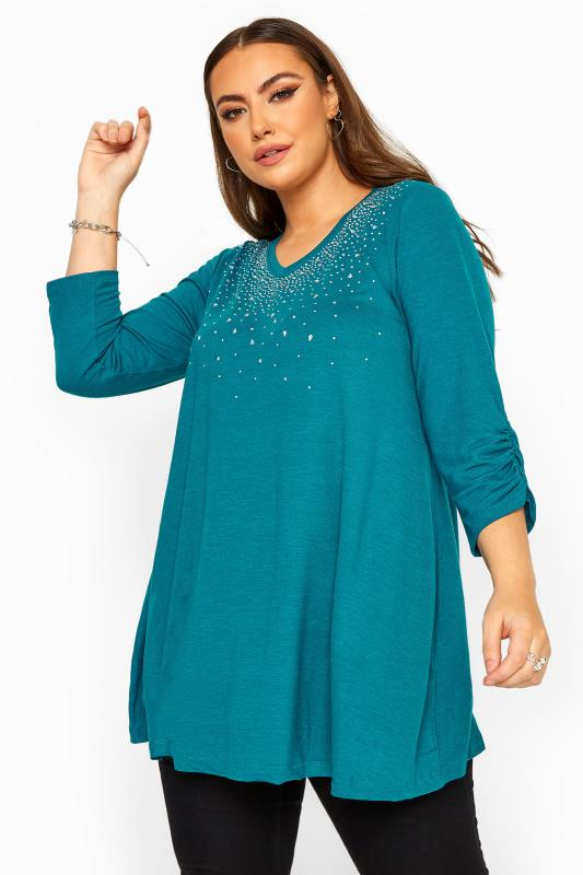 Plus Size Knitted Tops Teal Blue Diamante Stud Knitted Top