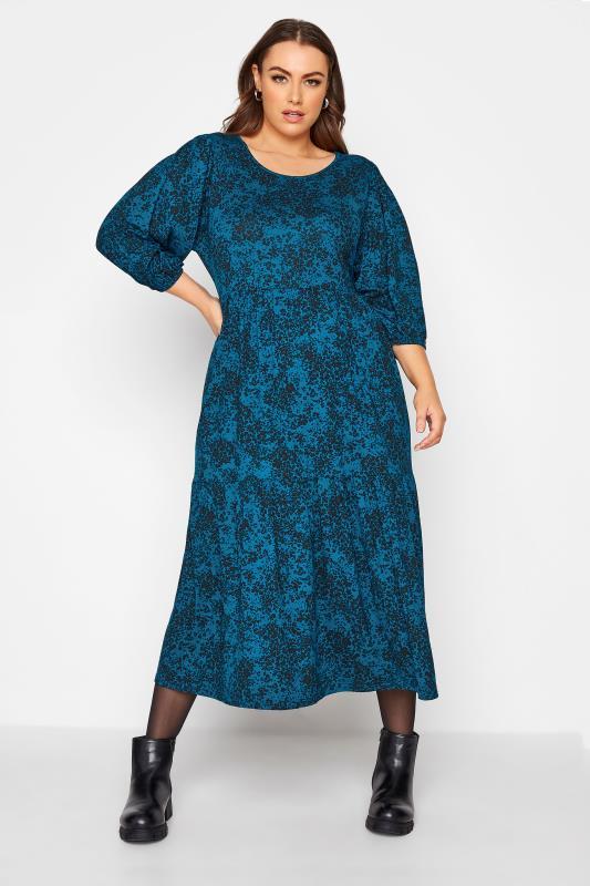 Plus Size  Teal Floral Print Midaxi Dress