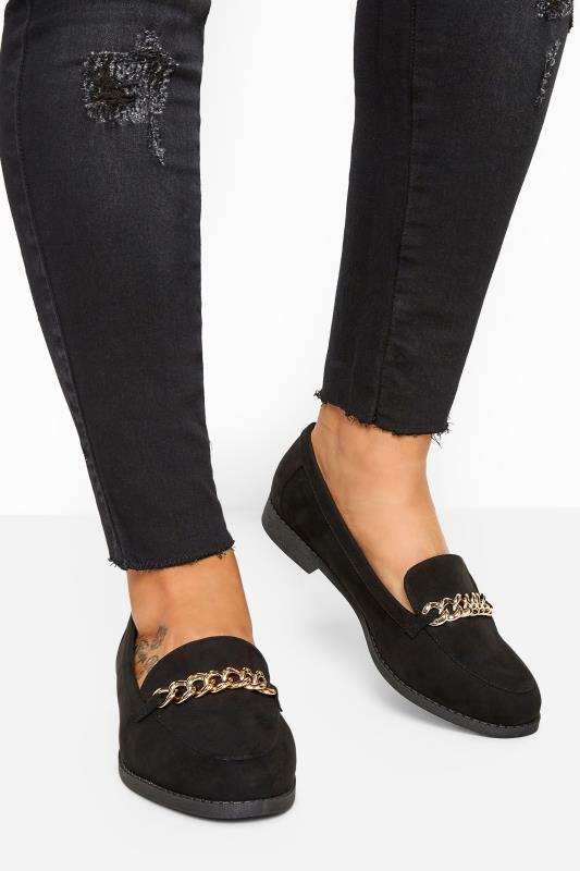 Wide Fit Flat Shoes Black Faux Suede Chain Loafers In Extra Wide Fit