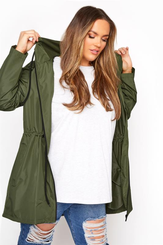 Plus Size  Khaki Pocket Parka Jacket
