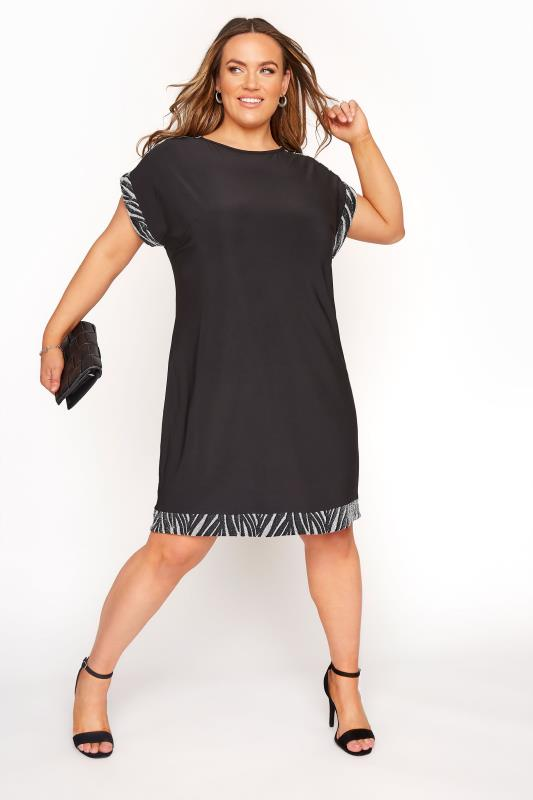 Black & Silver Beaded Trim Tunic