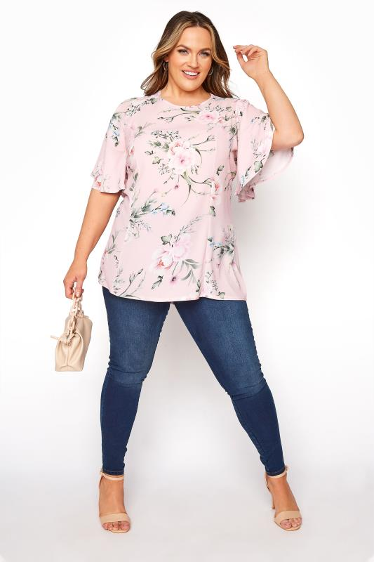 YOURS LONDON Pink Floral Angel Sleeve Blouse_B.jpg