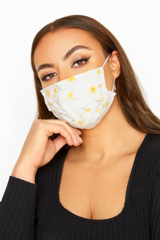 Plus Size  Cream Dobby Floral Pleated Cotton Face Mask