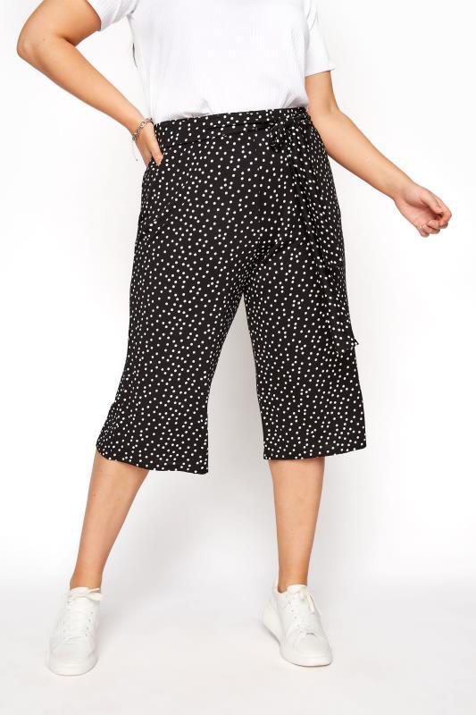 Plus Size  Black Polka Dot Tie Waist Culottes