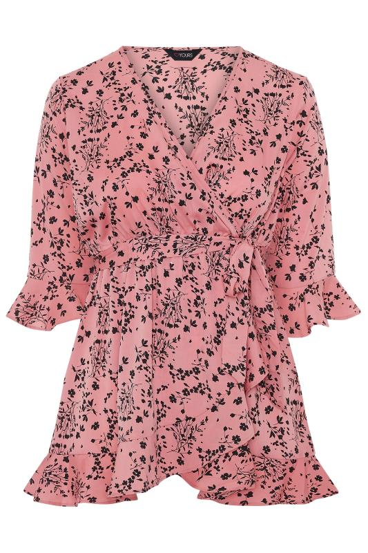 Dusty Pink Floral Wrap Top