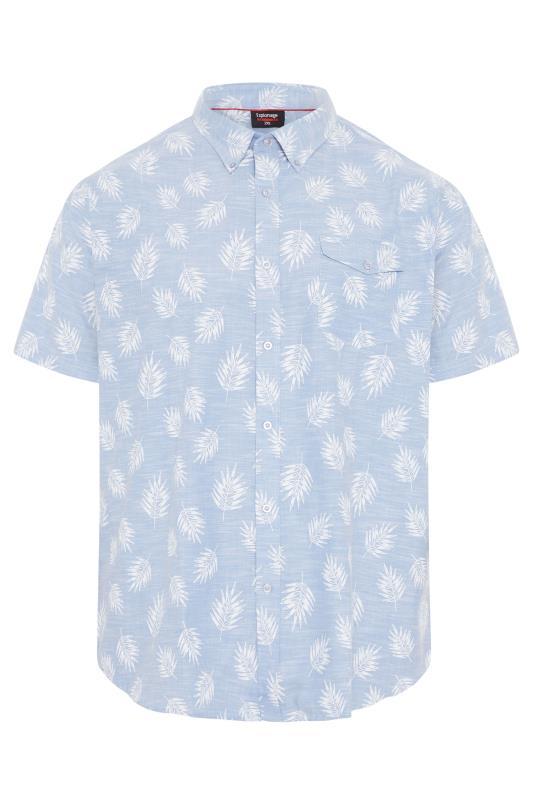 Men's  ESPIONAGE Light Blue Leaf Print Button Down Shirt