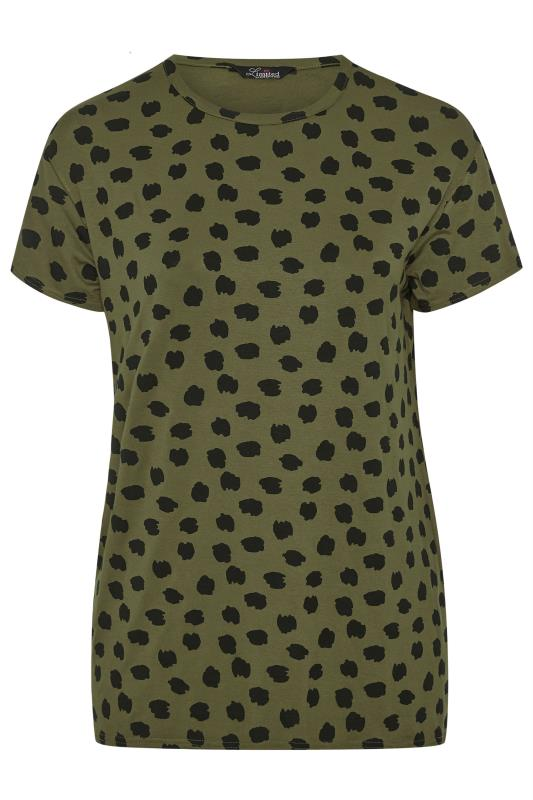 LIMITED COLLECTION Khaki Animal Marking Dipped Hem T-Shirt