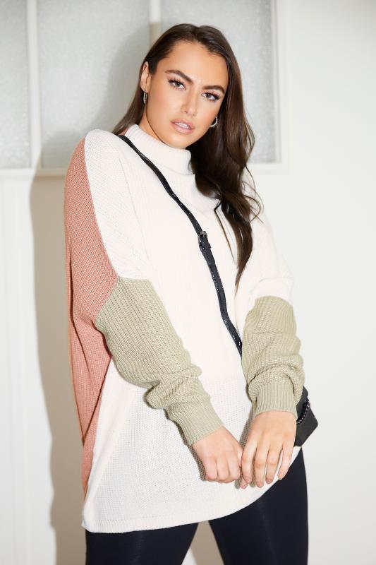 Cream Colour Block Oversized Knitted Jumper_L.jpg