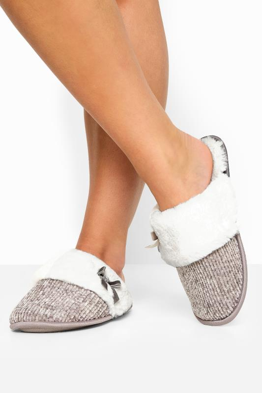 Wide Fit Slippers Grey Chenille Knitted Diamante Bow Mule Slippers In Wide Fit