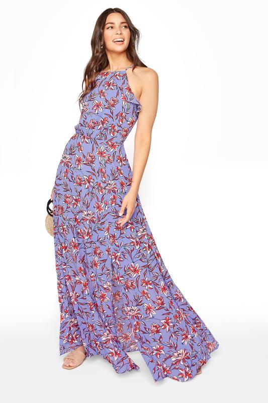 Purple Floral Ruffle Neck Chiffon Maxi Dress