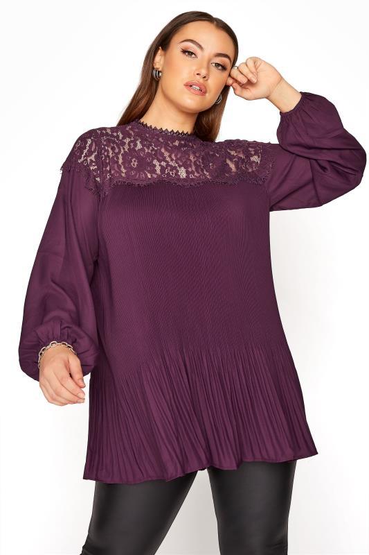 Plus Size  YOURS LONDON Purple Lace Plisse Chiffon Blouse