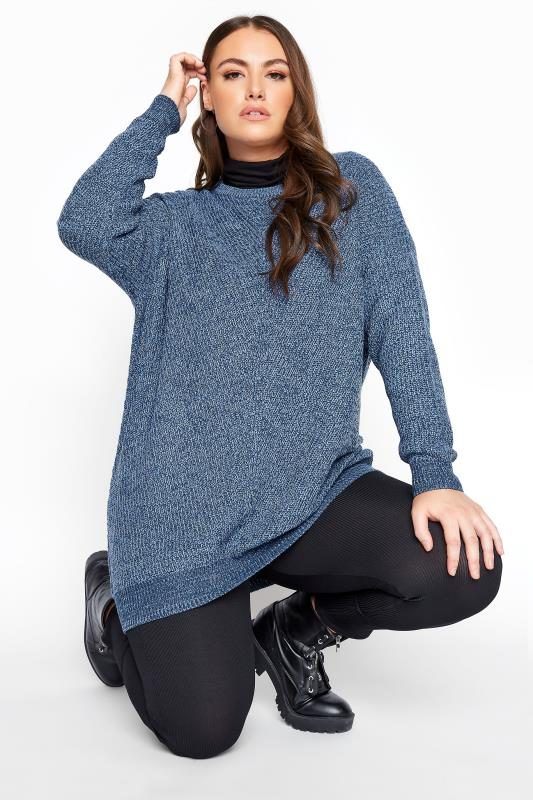 Plus Size  Blue Marl Chunky Knitted Jumper