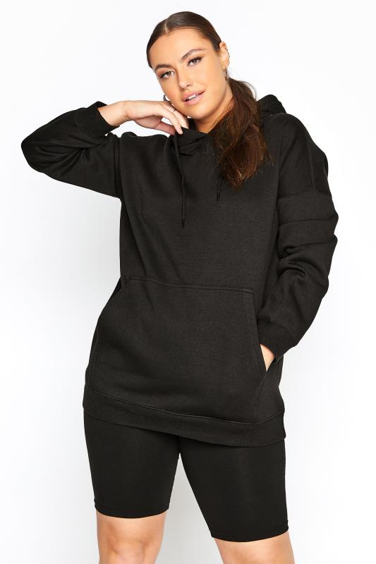 Plus Size  LIMITED COLLECTION Black Cotton Jersey Hoodie
