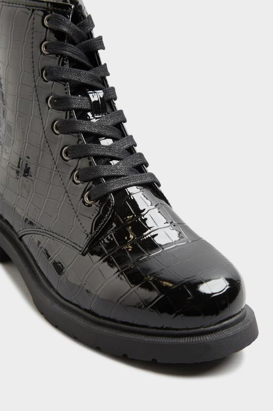 Black Patent Croc Chunky Lace Up Boots In Extra Wide Fit_E.jpg