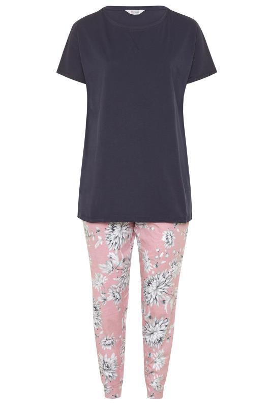 Navy Blue Summer Floral Pyjama Set_F.jpg