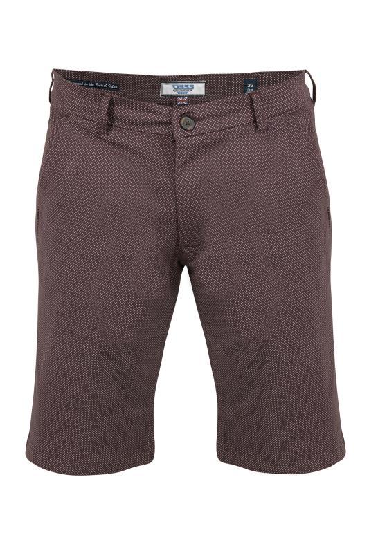 D555 Burgundy Micro Print Stretch Chino Shorts