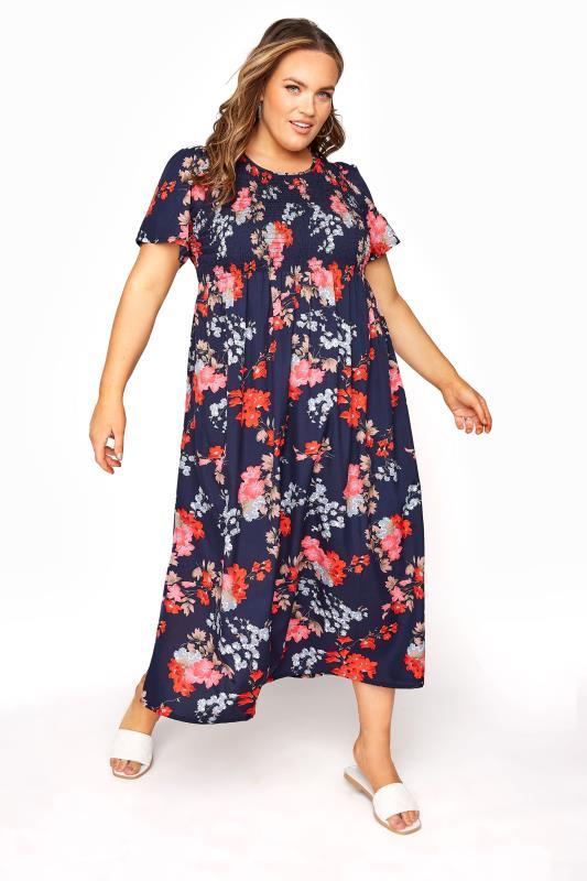 Blue Floral Shirred Maxi Dress_A.jpg