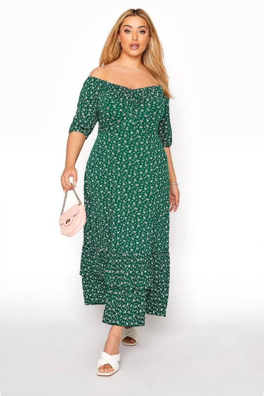 Plus Size  YOURS LONDON Green Ditsy Smock Maxi Dress