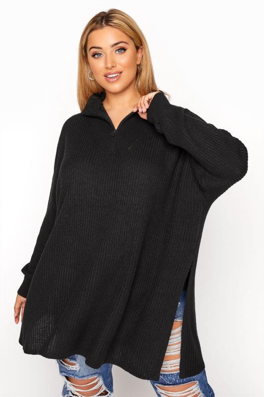 Plus Size  Black Quarter Zip Knitted Jumper