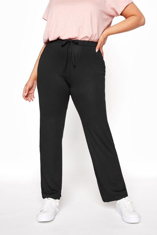 Plus Size Wide Leg & Palazzo Trousers BESTSELLER Black Wide Leg Pull On Stretch Jersey Yoga Pants