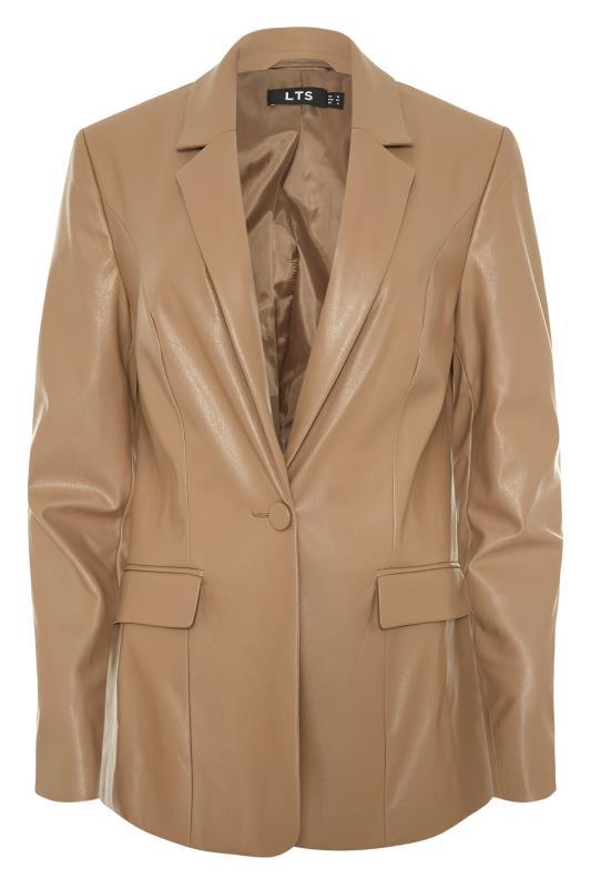 LTS Beige Faux Leather Blazer_F.jpg